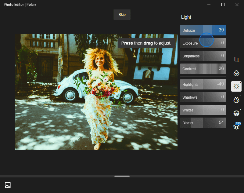 You can also adjust colors and saturation in Pixlr