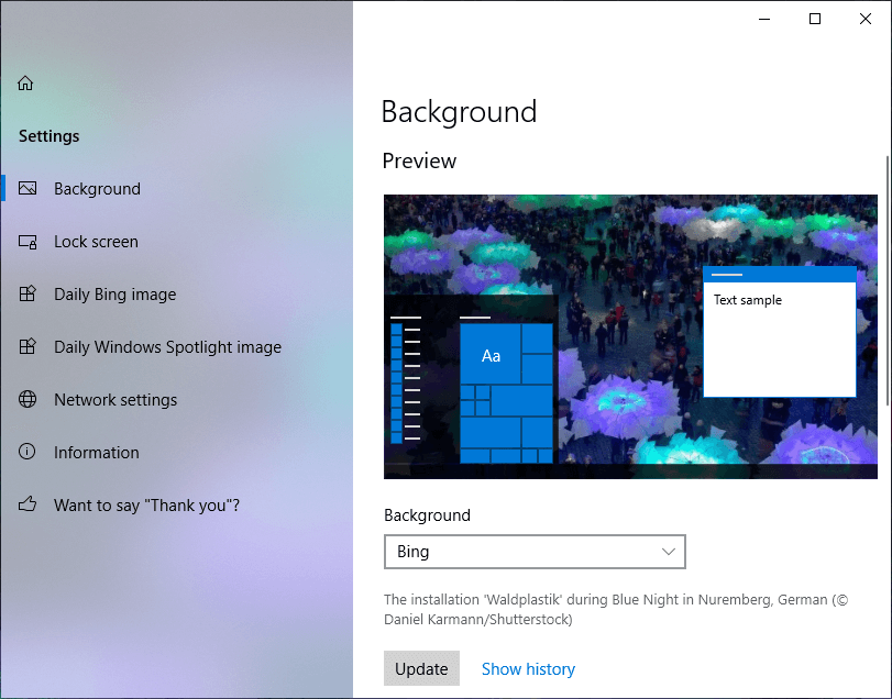 A screen similar to Windows Personalized settings screen will appear