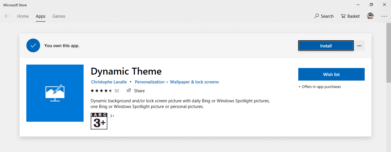 Click on the Install button to install the Dynamic theme app
