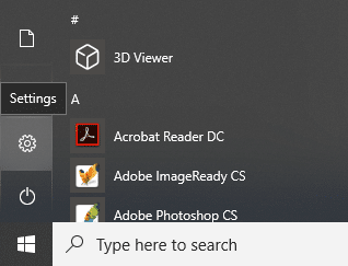 Click on the Windows icon then click on the gear icon in the menu to open Settings