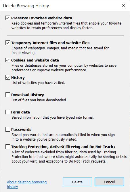 Delete browsing history in Internet Explorer