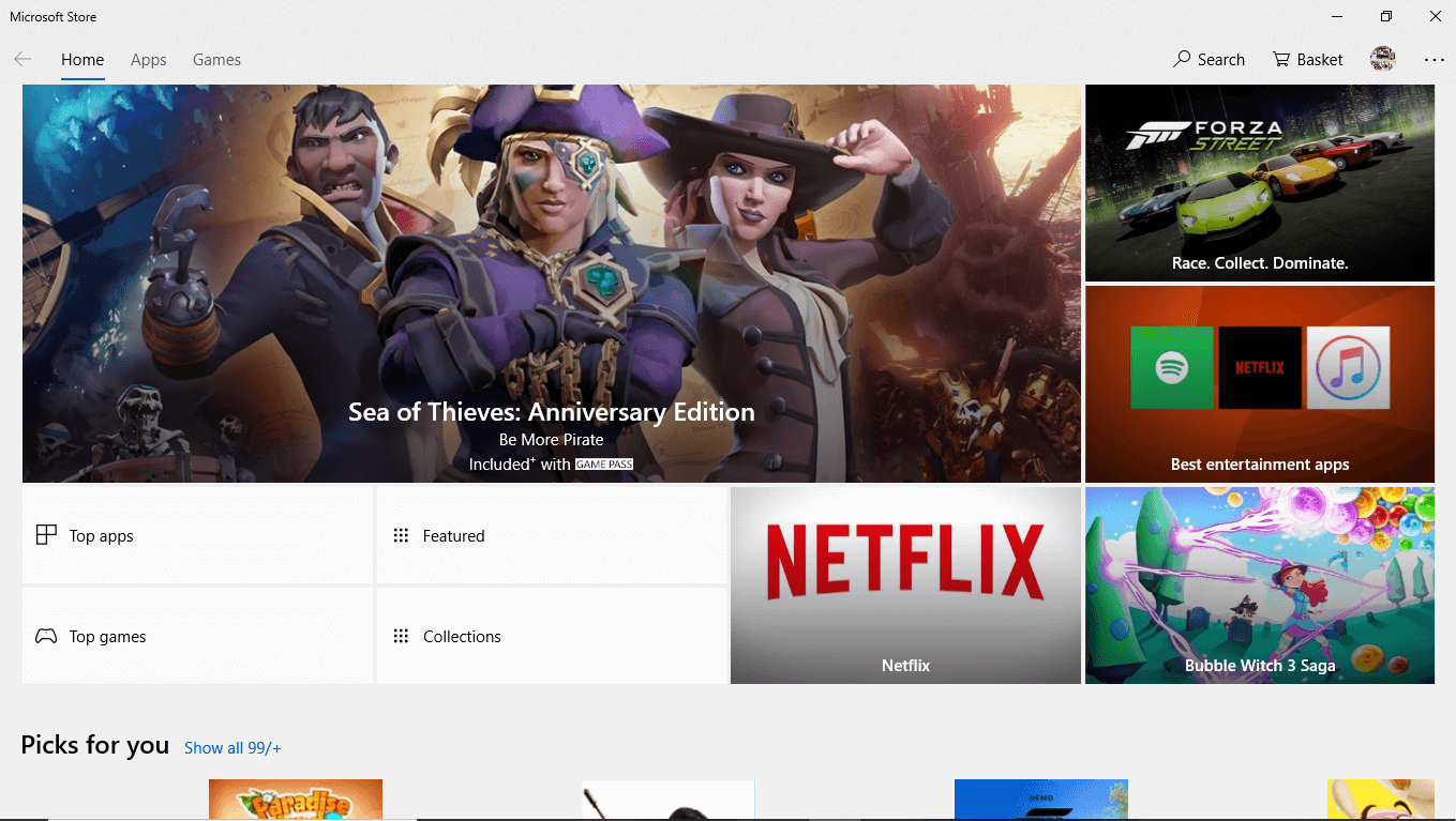 Hit the enter button on the top result of your search to open Microsoft Store