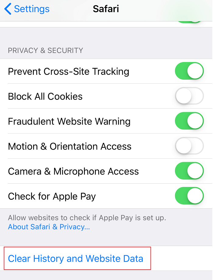 Now click on Clear History and Website Data under Safari Settings