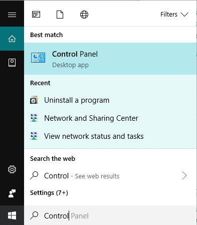 Open Control Panel by searching for it using the Search bar