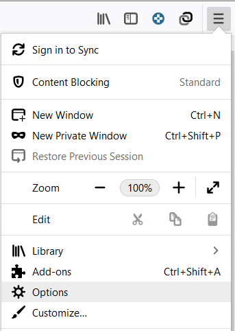 Open Firefox then click on the three parallel lines (Menu) and select Options