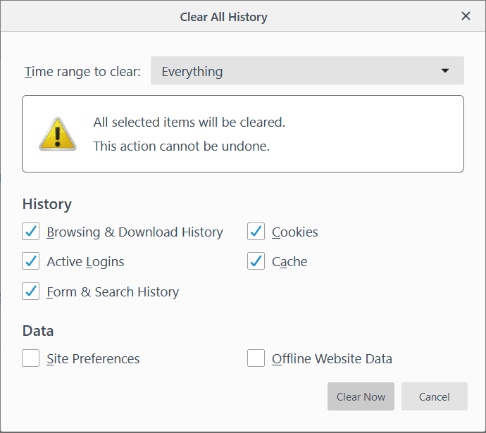 Select the time range for which you want to clear history & click on Clear Now