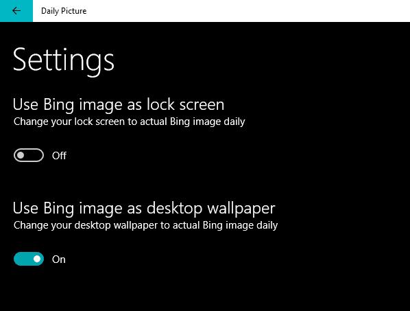 Set Bing Image as lock screen or as desktop wallpaper
