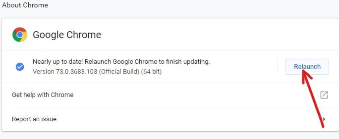 After Chrome finishes downloading & installing the updates, click on Relaunch button