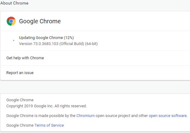 Any update available, Google Chrome will start updating | FixGoogle Chrome Freezing