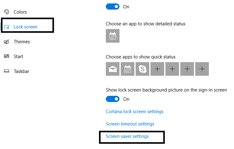 At the bottom of the screen navigate Screensaver Settings option