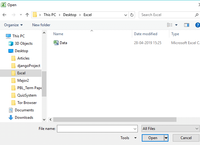 Browse through the folder which contains the file