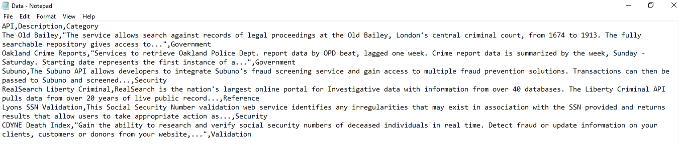 Example of CSV file when opened in Notepad