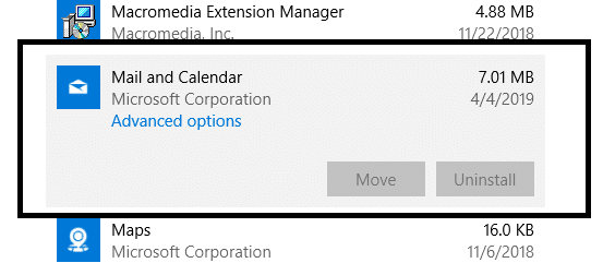 Choose the Mail and Calendar app