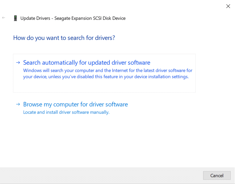 Choose the option Search automatically for updated driver software for external hard drive