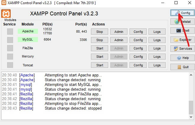 Click on Config button at the extreme right and service start automatically when you launch XAMPP