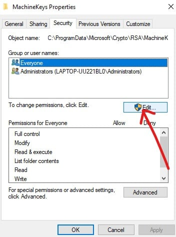 Click on Edit | Fix Cannot Create HomeGroup On Windows 10