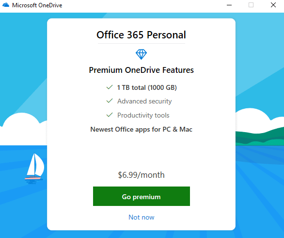 Click on Not now if using free version of oneDrive