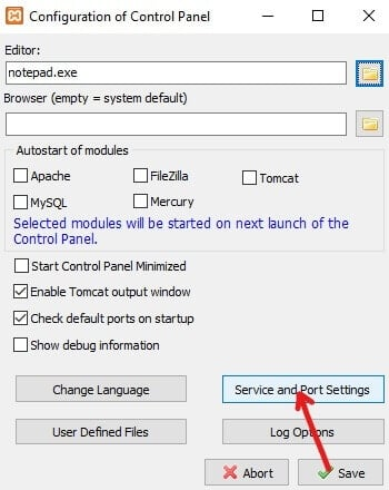 Click on Service and Port Settings