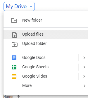 Click on Upload files from dropdown menu
