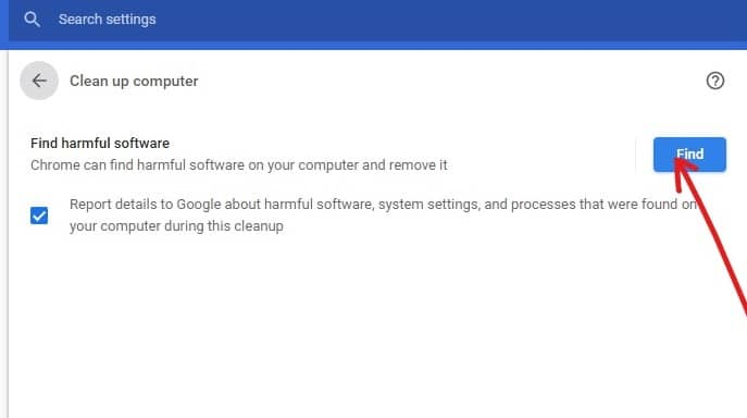Click on the Find button | FixGoogle Chrome Not Responding on Windows 10