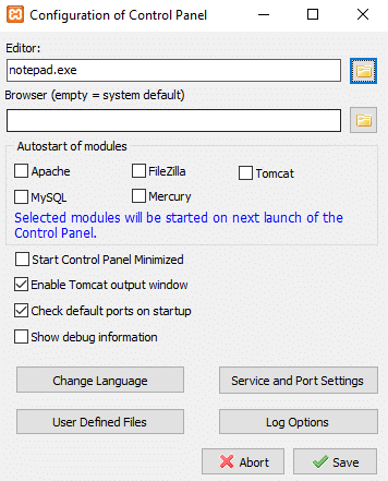 Clicking on Config button, a dialog box will appear   Install And Configure XAMPP on Windows 10