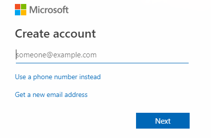 Enter an email address for new Microsoft account and click on next