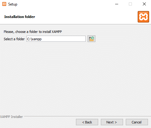Enter the folder location to install XAMPP software by clicking on small icon next to the address bar
