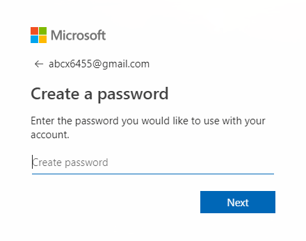 Enter the password for your new Microsoft account and click next