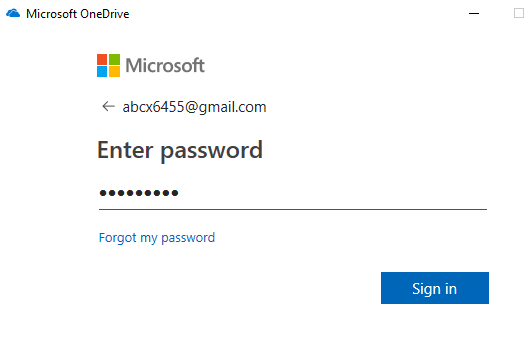Enter the password of your Microsoft account and click on sign in