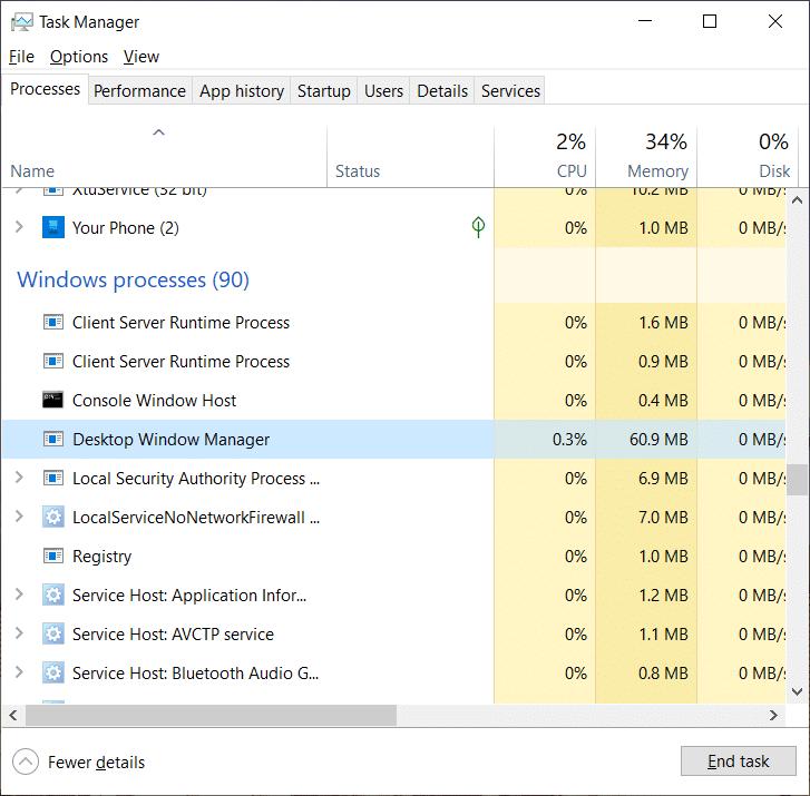 Fix Desktop Window Manager (DWM.exe) High CPU