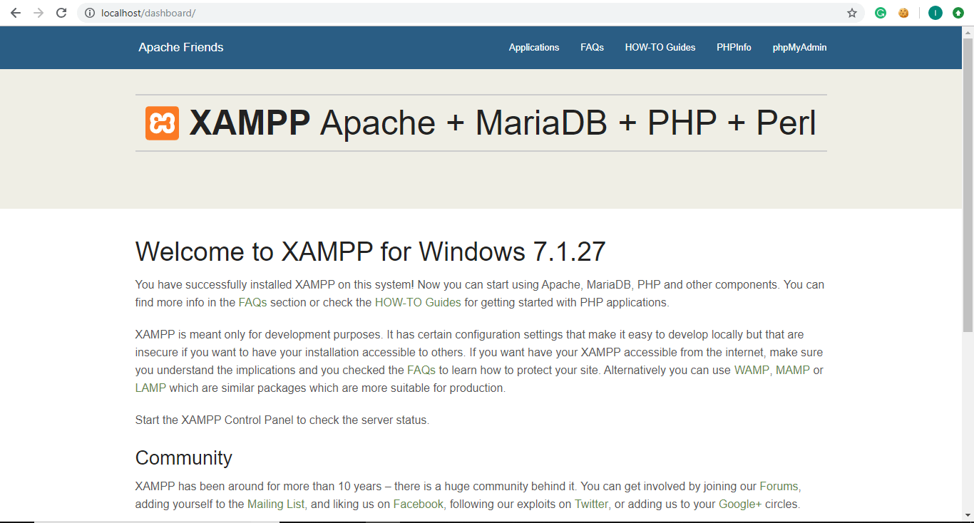 Will redirect you to the dashboard of XAMPP and the default page of the XAMPP   Install And Configure XAMPP on Windows 10