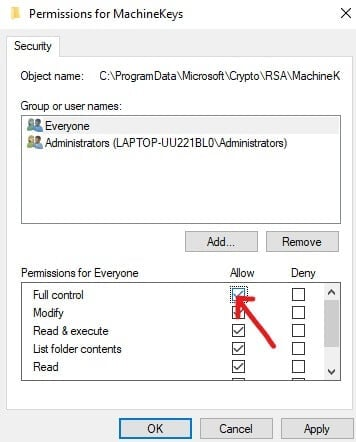 List of permissions for everyone click on Full Control | Fix You Need Permission To Perform This Action Error