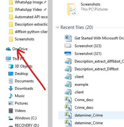 Look for OneDrive folder among the folders list available on left side and click on it