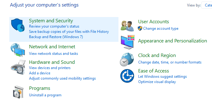 Open Control Panel and click on System and Security