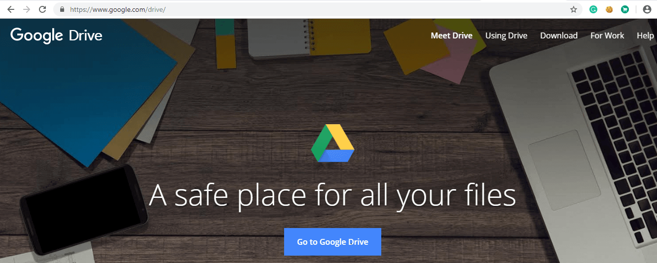 Open Google Drive by using the link