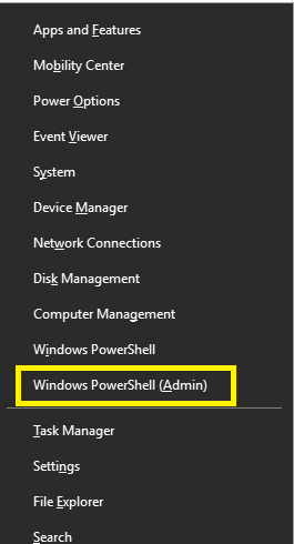 Open Windows PowerShell with Admin Access
