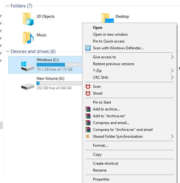 Right click on the drive where windows 10 is installed