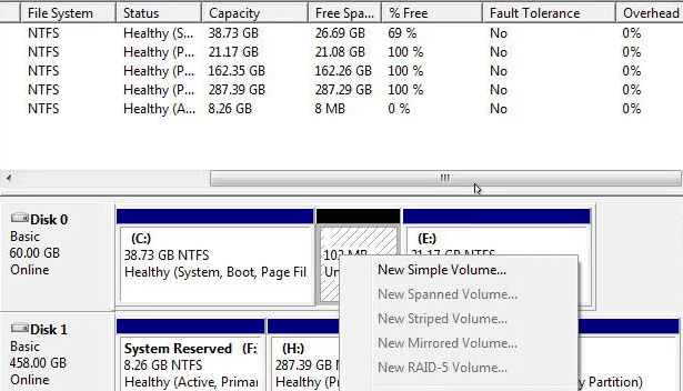 Right click on the hard drive in disk management window and select 'New simple volume'
