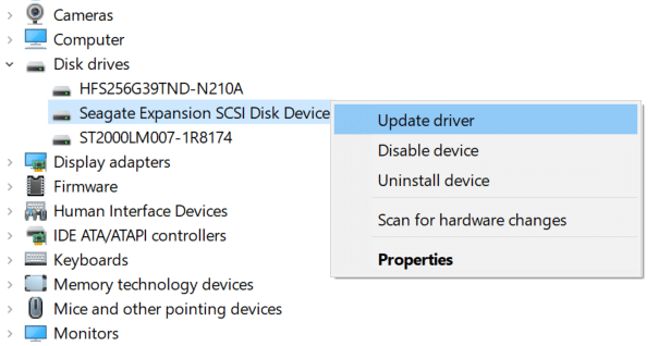 Right-click on your External hard drive and select Update driver