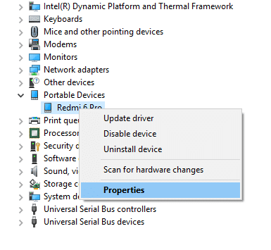 Right click on your android phone and then click on Properties