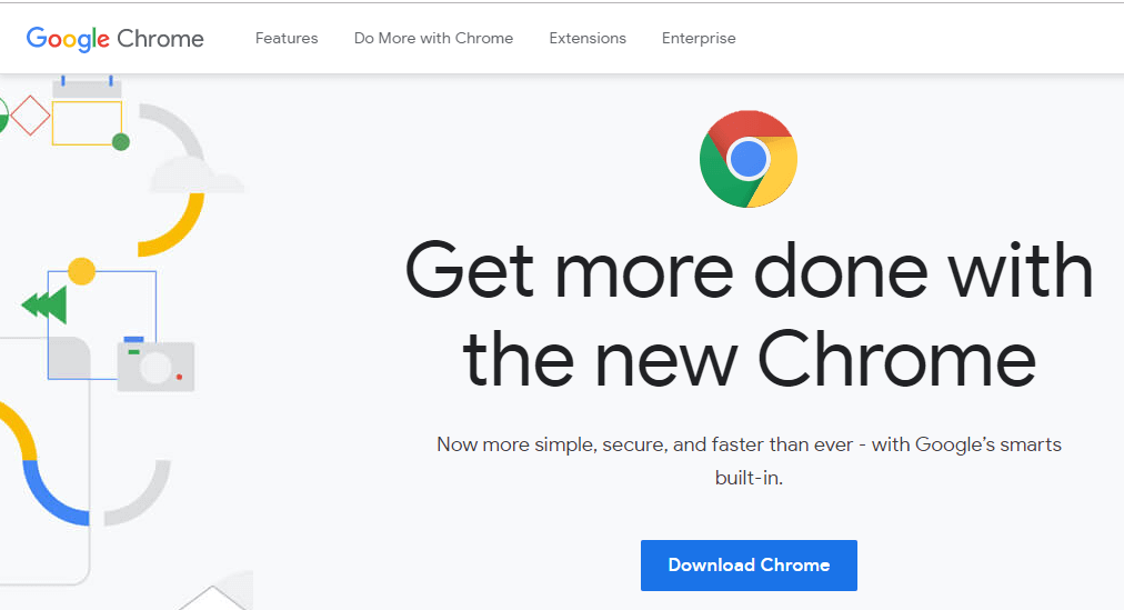 Search download Chrome and open up the first link