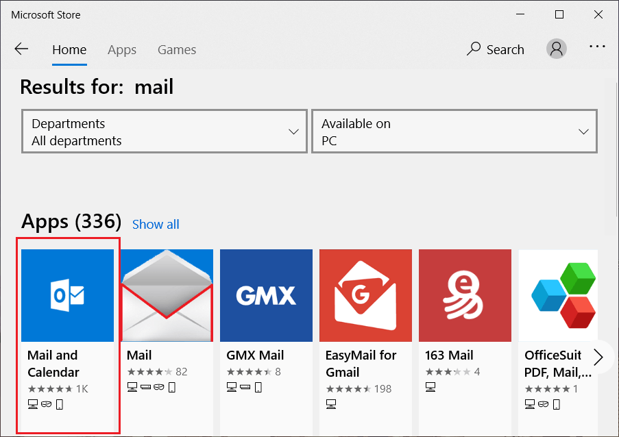 Search for Mail and Calendar app from Microsoft Store