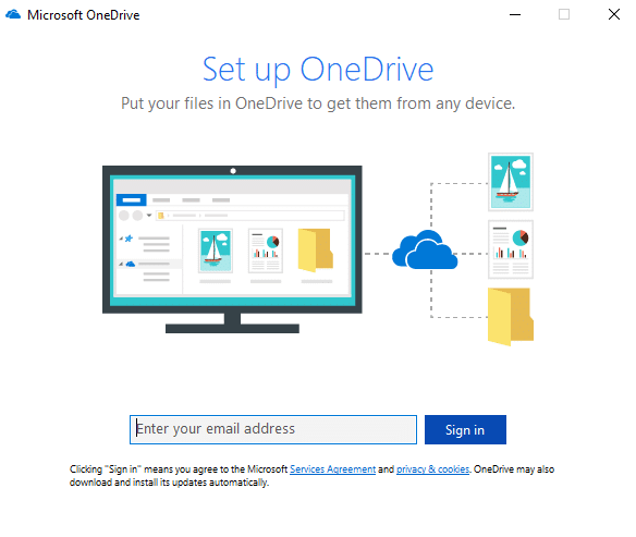 Search for OneDrive using search bar and hit enter
