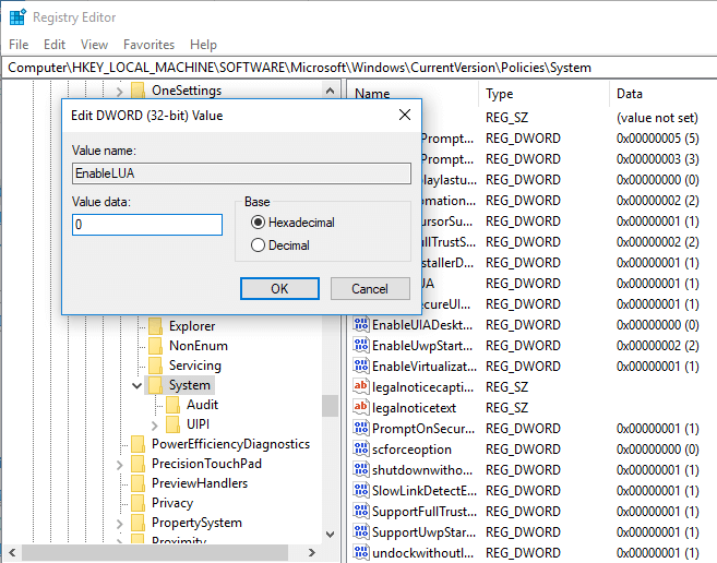 Set DWORD value data to 0 and save it
