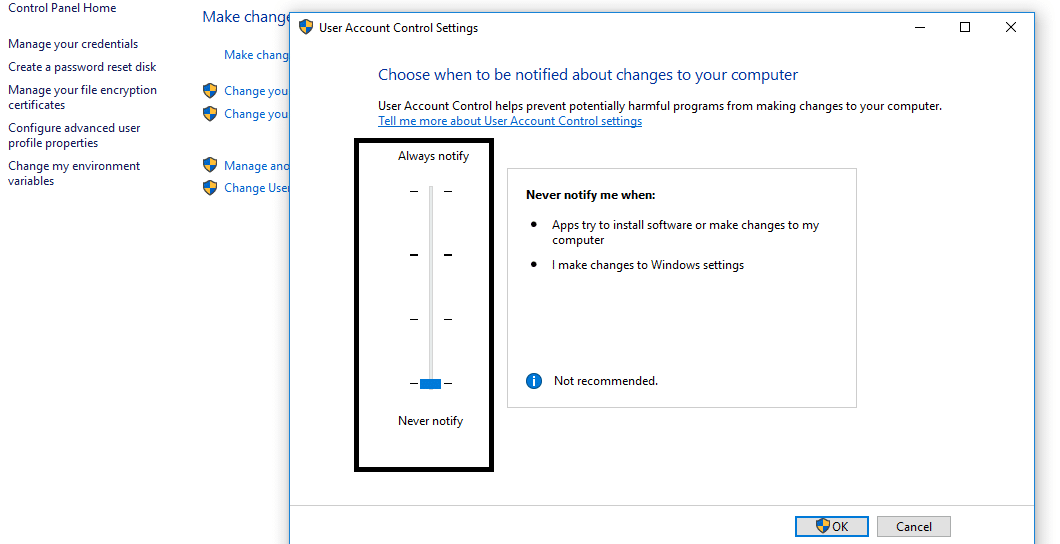 Slide the marker to the Bottom in order to disable the UAC pop up