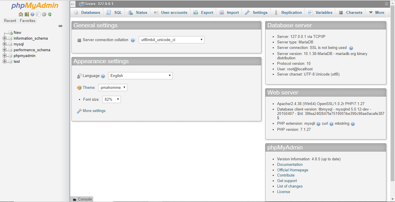 Screen will open up after clicking at Admin button corresponding to MySQL service