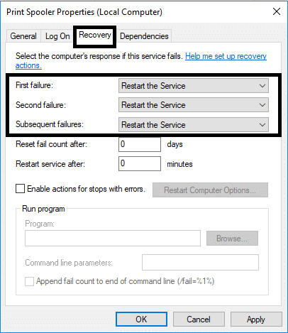 Switch to Recovery tab and ensure that three failure tabs are set to Restart the Service and Apply the settings and press OK