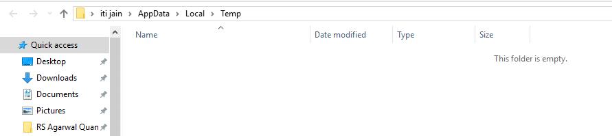 Temp folder empty
