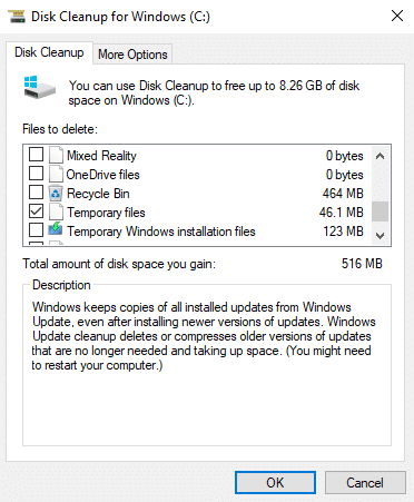 Under Files to delete, check the boxes want to delete like Temporary files etc.