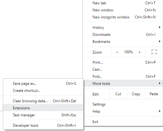 Under More tools, click on Extensions